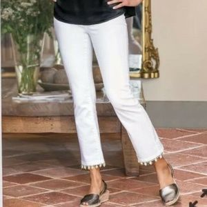 Soft Surroundings Pearl Edged Jeans White Capris